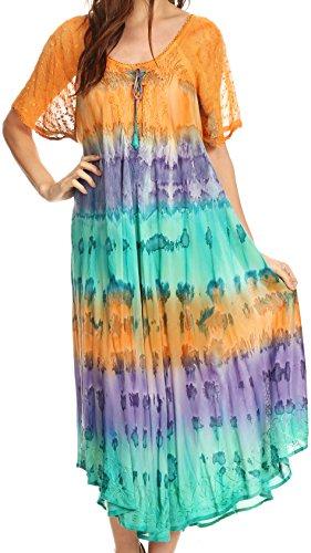 Sakkas 17506 - Sula Largo Cordones de algodón teñido Anudado de Cuello Ancho Bordado de Boho Sundress Cover Up - Naranja/Mint - OS
