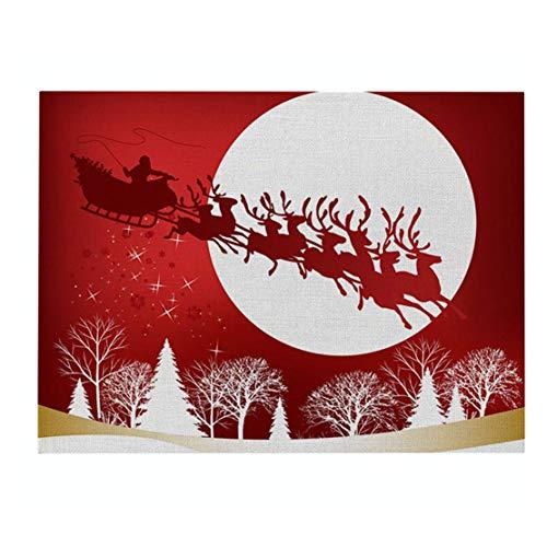 MINASAN Juego de Mesa de Navidad, Color Rojo, para Navidad, Juego de Mesa de Navidad, Juego de bandejas, Lavable, para Navidad, Ideal para Mesa de Comedor, Restaurante, Cocina, Cd035-10, 32X42cm