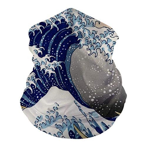 Japanese Style Wave Seamless Warmer Windproof UV Protection Neck Gaiter Scarf Bandana Face Mask for Outdoor Activities