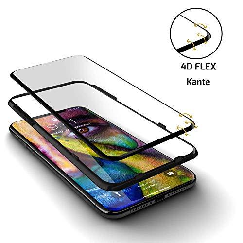 GLAZ HYBRID Panzerglas, Kompatibel Mit iPhone 11 Pro Max, Panzerglasfolie, Ink. Applikator, Notch Unsichtbar, Staubfrei, Blasenfrei, 4D Full Screen, Premium Displayschutzfolie, Panzerfolie