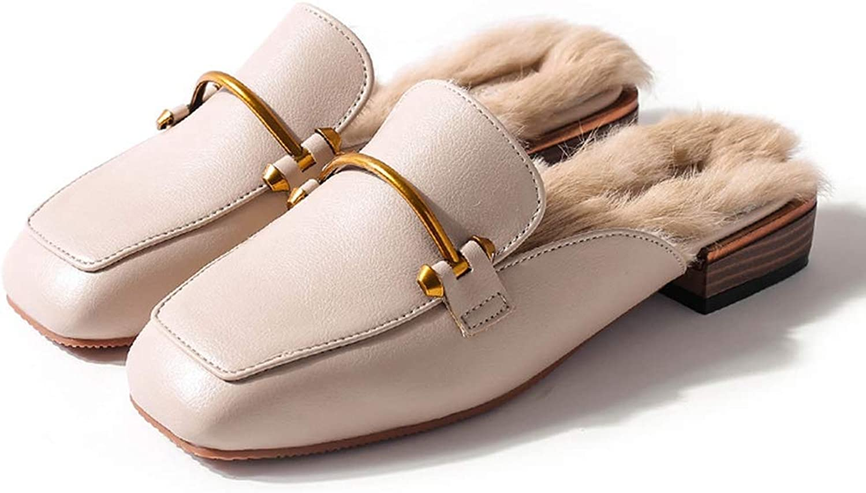 Fashion shoesbox Women's Slip on Loafers Slingback Mules Square Toe Faux Fur Flats Low Heel Slip on Outdoor Dress Slippers