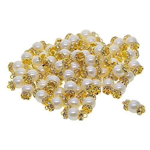LoveinDIY 50 peças de berloques de pérolas falsas, suprimentos de artesanato, berloques, pingentes, conector para artesanato, acessórios de fabricação de joias para pulseiras de colar 'faça você mesmo'