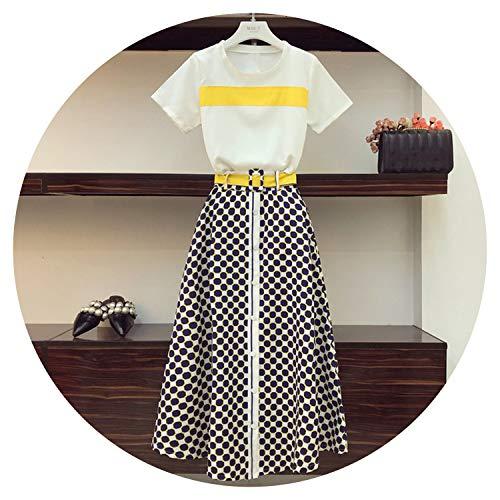 Zomer Avant-Garde Dames Sets Kleur Blok O Hals Korte Mouw Tshirts + Geometrische Patronen Ultra Lange Rok Vrouwelijke Suits