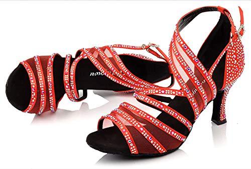 HOAPL Zapatos de Baile Latino para salón de Baile para Mujer Negro Albaricoque Rojo...