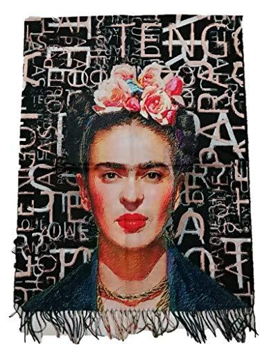 Frida Kahlo Khalo Viskose-Schal mit doppeltem Aufdruck, Geschenk für Damen, Kunst, Mode, Stola