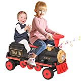 Kidsclub Ride on Train, 12V Electric Train 2 Seater Ride on Toy for Kids, Track-Less Motorized Train with Light, Music & Bluetooth, Birthday Gift for Boys Girls Toddlers - Red Train