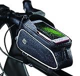 NK Bolsa Bicicleta Manillar - Bolsa Almacenaje para Bici con Soporte para Teléfono, Impermeable, Ventana Táctil para Pantalla hasta 7', Bolsillo Almacenaje, Resistente al Sol, Ranura para Auriculares