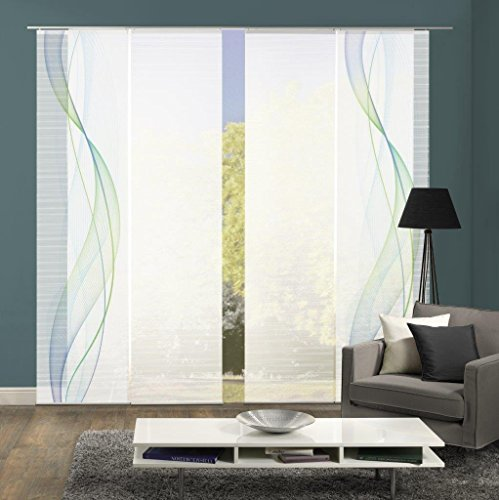 Vision S 94333-6407 | 4er-Set Schiebegardine Heights | halb-transparenter Stoff in Bambus-Optik | 4X 260x60 cm | Farbe: Blau-Grün