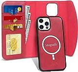 FYY - Funda para iPhone 12 Pro Max 5 G de 6,7 pulgadas, funda para iPhone 12 Pro Max, [2 en 1] funda tipo cartera extraíble con tapa y carga sin hilos] para iPhone 12 Pro Max 6,7' 2020-rojo