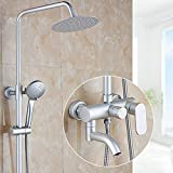 Gnailur 1 set Bathroom Lluefall Ducha Grifo Conjunto de grifo simple Handle Mezclador Tap con el estante Montado en la pared Bañera Set de ducha Setmite Ducha Tapeo
