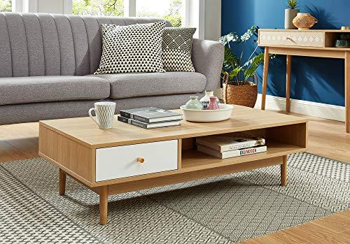 BAITA Leika salontafel, eiken en wit, 110 cm