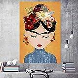 wZUN Impresión de Lienzo Imagen Mural Pintura nórdica Acuarela Creativa Mujer decoración del hogar Cartel 60x80 Sin Marco