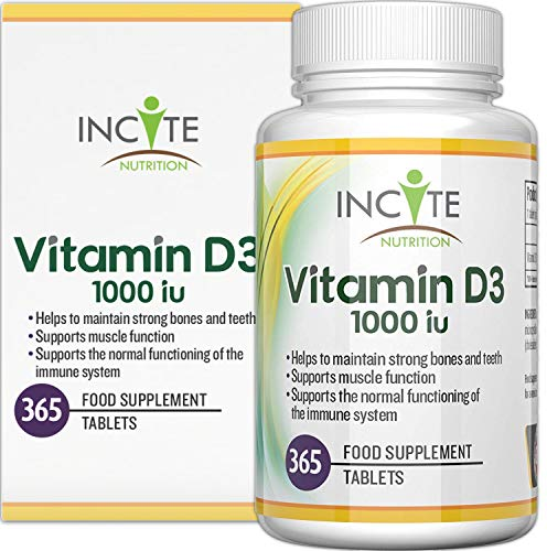 Vitamin D 1000iu | 365 Premium Vitamin D3 Easy-Swallow Micro Tablets | One a Day High Strength Cholecalciferol VIT D3 | Vegetarian Supplement | Made in The UK by Incite Nutrition