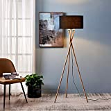 Archiology Wood Tripod Floor Lamp, Mid Century Standing Lamp,Tall Contemporary Floor Lamp with Black Drum Shade and E26 Lamp Base,Perfect for Living Room, Bedroom, Study Room and Office