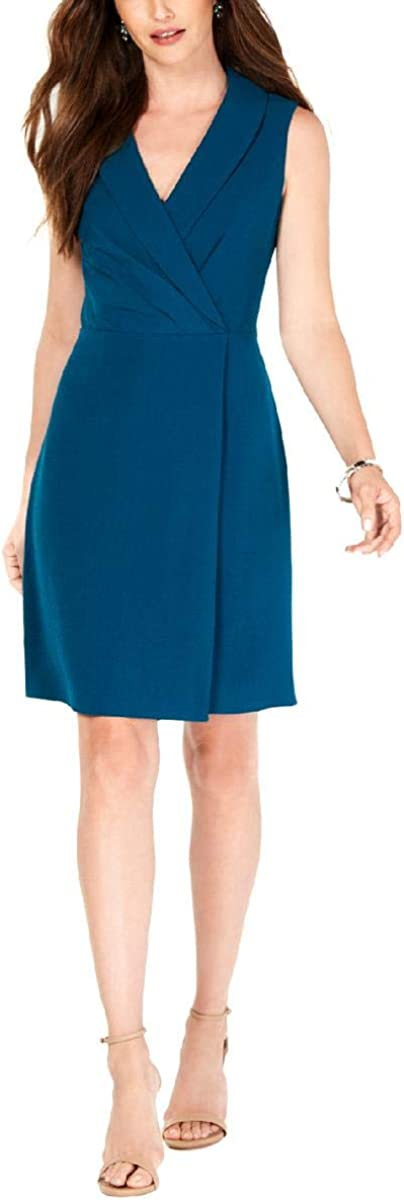 Adrianna Papell Women's Sleeveless Textured Crepe Fabric Modern A-line Dress