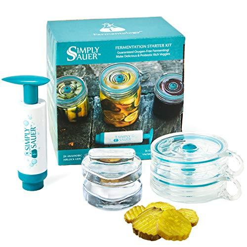 Fermentology Simply Sauer Gärungskit für Einmachgläser mit großer Öffnung - Sauerstoffpumpe, luftdichte Verschlüsse und Glasgewichte - 5 Stück Set