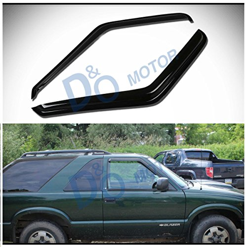 D&O MOTOR 2pcs Front Smoke Sun/Rain Guard Outside Mount Tape-On Window Visors For 95-05 Chevy Blazer/GMC Jimmy 2-Door 94-04 S10 Pickup/Sonoma 96-00 Isuzu Hombre