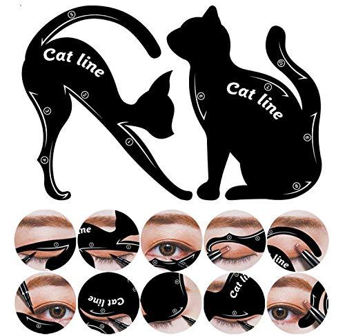 Lucklystar® 2 Stück Make-up Schönheit Katze Eyeliner Smokey Eyeliner Schablone Schablone Shaper Werkzeug Katze Eyeliner und Smokey Eyes Augenbrauen Schablone Schablone Make-up Werkzeug