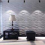 Art3d Decorative 3D Wavy Wall Panel Design Pack of 12 Tiles 32 Sq.Ft (Plant Fiber)
