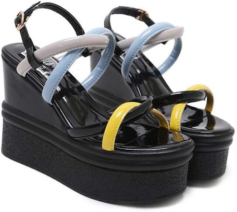 Pump 11.5cm Wedge Heel Slingbacks Sandals Dress shoes Women Fashion Open Toe D'Orsay Belt Buckle Cross Strap OL Court shoes Roma shoes EU Size 34-40