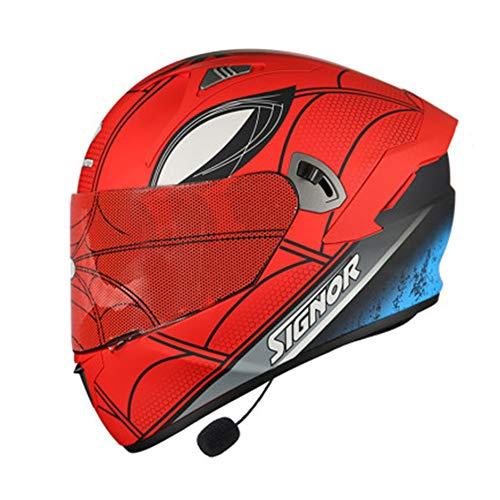 DAWANG Casco de la Motocicleta, Aprobado por el Dot para Adultos de la Cara Llena de Bluetooth Motocross Casco, para ATV Bici de la Suciedad de la Calle Off-Road Ride, Starscream,L