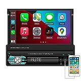 Hikity Autoradio Carplay 1 Din Bluetooth Stéréo de Voiture 7 Pouces Flip Out Écran Tactile Récepteur FM avec Lien Miroir USB SD AUX-in + Caméra de Recul