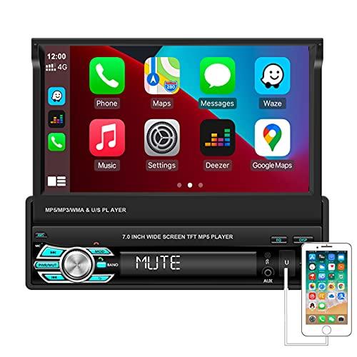 Hikity Auto Stereo 1 din Car Player 7 pollici Touchscreen Autoradio bluetooth, Chiamata a Mani Libere Ricevitore FM, Mirror Link,Ingresso SD AUX USB,Telecomando Senza Fili + Backup Telecamera