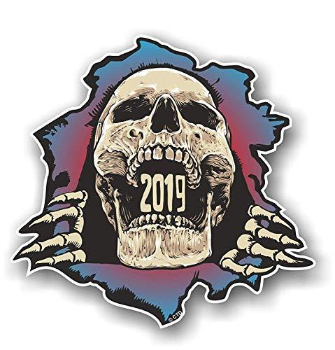 Gerepte gescheurde gotische schedel doorbreken ontwerp jaar gedateerd 2019 Vinyl auto Sticker 120x115mm
