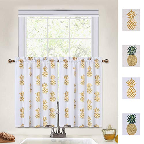 CAROMIO Cafe Curtains 36 Inch, Pineapple Print Rod Pocket Tier Curtains for Bathroom Kitchen Cafe Curtains Small Half Window Curtains, Yellow, 30Wx36L Each (Set of 2)