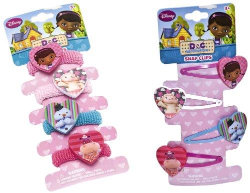 Joy Toy Disney Dottoressa Peluche 116130+116066 - Set 4 Elastici e 4 Mollettine per i Capelli