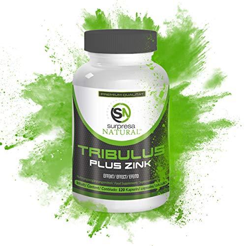 Surpresa Natural® - Tribulus Plus Zink - 120 hochdosierte Kapseln   100{4b1068b04608a7f27421a83d360a89970fcf29f59a6ed2dc4045f2d0e3c95ba4} gesunder & natürlicher Muskelaufbau   Tribulus Terrestris Extrakt   Nahrungsergänzung für Libido & Muskulatur