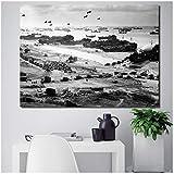 Seconda Guerra Mondiale Normandia atterraggio Aereo Nero Bianco Arte Tela Poster Pittura Parete Immagine Stampa Decorazione Domestica -60x90cm Cornice Interna in Legno