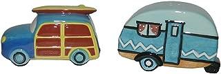 Chesapeake Bay Ceramic Beach Car and Camper Design Salt and Pepper Shaker Set 68792 3.5 Inches x 1.75 Inches x 2 Inches