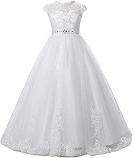 Tulle Lace Flower Girl Dress Pageant Maxi Dresses for Girls Ball Gown Floor-Length with Sash, Beading, Back Hole