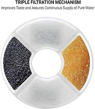 ADOV Filtres pour Fontaine à Eau Chat (4 Pcs), Pet Fountain Filters avec Résine Echangeuse D'ions et Charbon Actif, Filtre de Rechange Compatible avec Fontaines pour Petits Chiens et Chats - Ronde