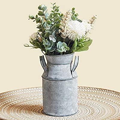 "Vintage Antique Chic Vase, Galvanized Metal Shabby Milk Can, Country Rustic Farmhouse Table Decorative Flower Holder for Dining Living Room 7.4""H"