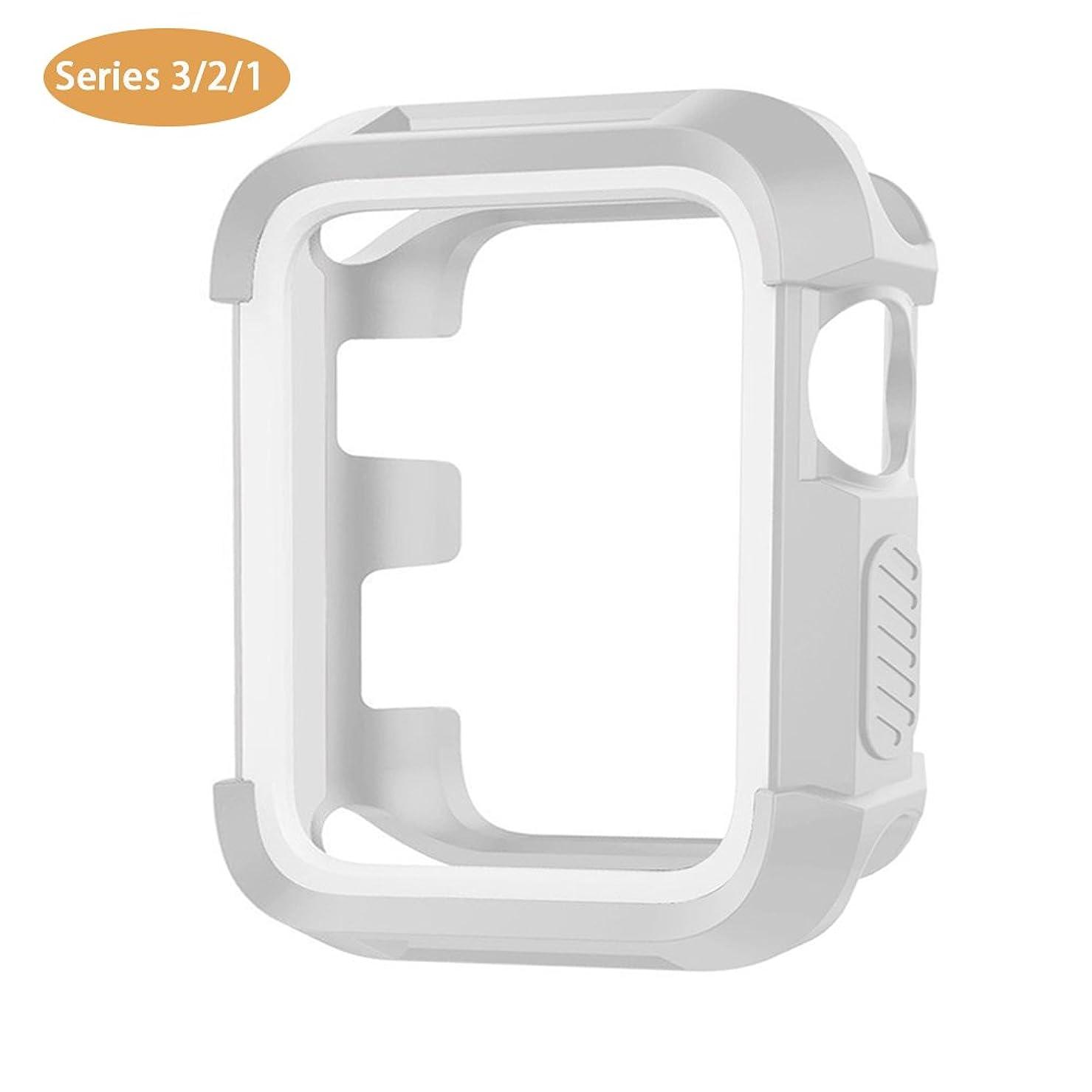 コンセンサススキル強風Haotop ケース 対応 Apple Watch 38mm, 耐衝撃性 脱着簡単 アップルウォッチ 適応 iWatch Series 3/2/1 ケース (38mm, グレー/白)