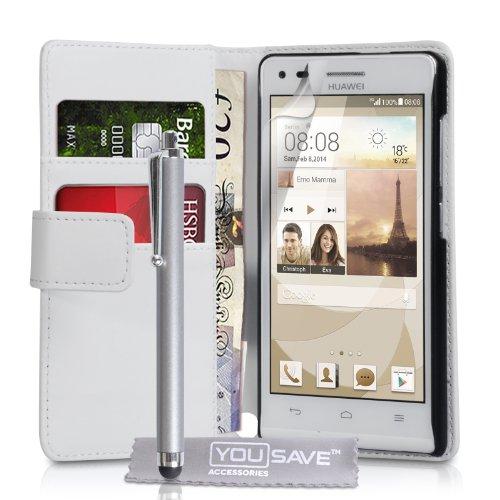 Yousave Accessories Kompatibel Für Huawei Ascend G6 Tasche (3G Modell Nur) Weiß PU Leder Brieftasche Hülle Mit Handgriffel Stift