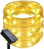 CHINS Led Lichterkette, Led Lichterschlauch Außen, Solar Led Lichterkette,10M 100er LED, IP65 Lichter für Innen Außen Party Hochzeit Weihnachten Deko, Warmweiß