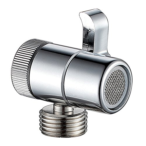 Sink Faucet Diverter with Aerator, Angle Simple Metal Adapter Water Diverter Valve Faucet to Bidet Sprayer Faucet Splitter RV Kitchen Sink Connector Diaper Sprayer Handheld Shower Convertor, Chrome