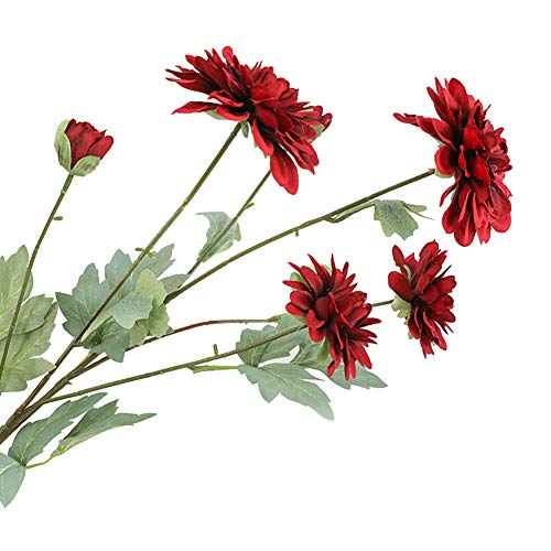 Dellefuture - 1 pieza de 6 cabezas de tela artificial falsa Dalia flor de boda fiesta hogar decoración de escritorio – negro rojo plantas artificiales decoración del hogar regalo