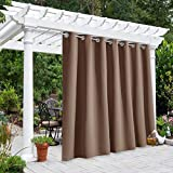 NICETOWN Outdoor Curtain Panel for Patio Waterproof, Grommet Top Thermal Insulated Bedroom Blackout Extra Wide Door Blind for Gazebo/Front Porch, Tan, 1-Pack, 100 Inch Wide by 108 Inch Long