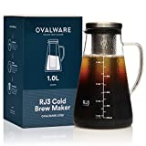 Airtight Cold Brew Iced Coffee Maker and Tea Infuser with Spout - 1.0L / 34oz Ovalware RJ3 Brewing Glass...