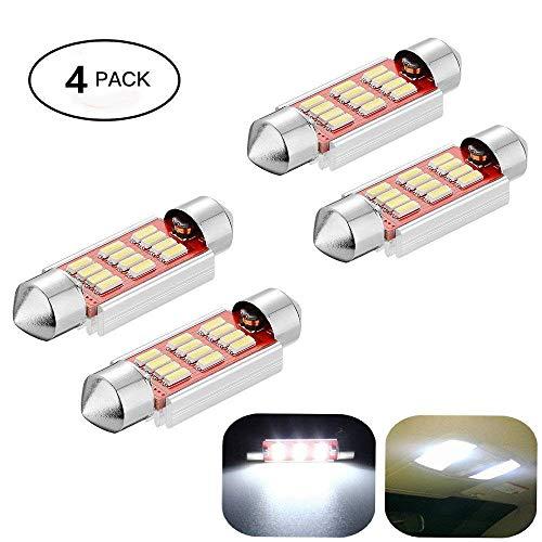 Haichen Lot de 4 LED navette blanc pour éclairage de voiture 36–41 mm, ampoule LED navette anti-erreur 4014 12 smd pour plafonnier, pour plafonnier, liseuse, éclairage de plaque minéralogique