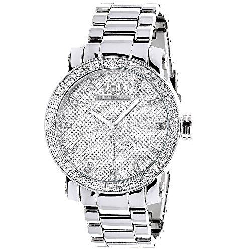 LUXURMAN Mens Diamond Watch 0.12ct Stainless Steel Band