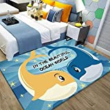 Alfombra De Salón Comedor Dormitorio Juvenil Diseño Moderno Dos Personajes De Delfines para Áreas Interiores, Mano para Sala De Estar, Dormitorio.-80 X 120 CM
