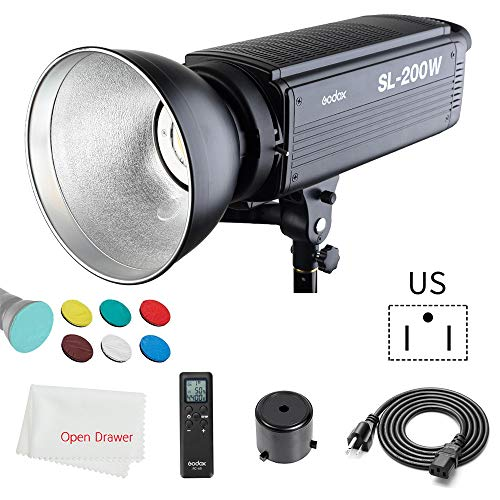 Godox SL-200W LED Video Light, 200WS White 5600K Version Compatible Bowens Mount + Remote Controller + Reflector