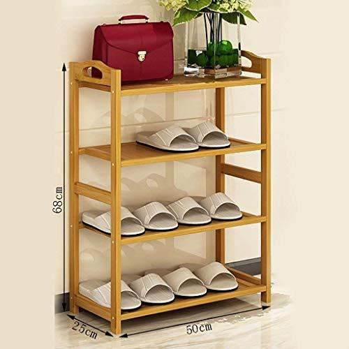 Regale 4 Ebenen einfache natürliche Bambusholz Schuhhalter Organisator Regal Halter for Flur Wohnzimmer Raum der Schuhe zu 16 Paare leben bis (Multisize) (Größe: 80 * 25 * 68cm), Größe: 70 * 25 * 68cm