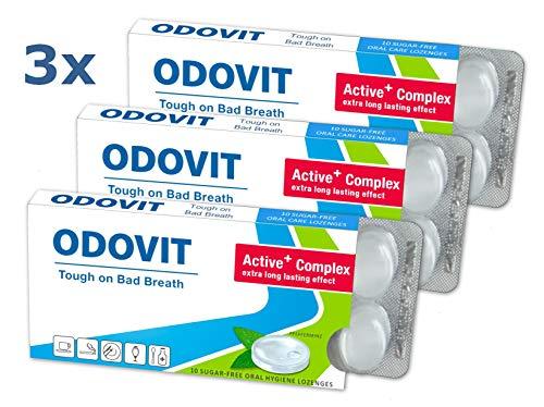 ODOVIT bekämpft schlechten Atem - 3x Mundpflege-Bonbons 10er - Stark gegen Mundgeruch - mild im Geschmack - nachhaltig frischer Atem