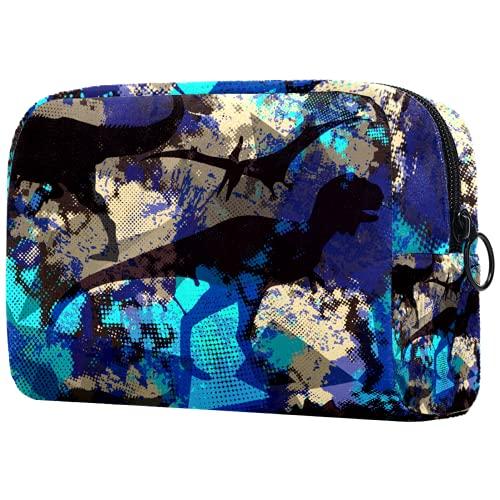 Yitian Bolsa de cosméticos militar de camuflaje de dinosaurios para mujeres, adorable bolsa de maquillaje espaciosa bolsa de aseo de viaje